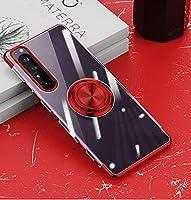 ソニーXPERIA10 III携帯電話ケースと互換性のある透明保護スリーブリングブラケット,赤