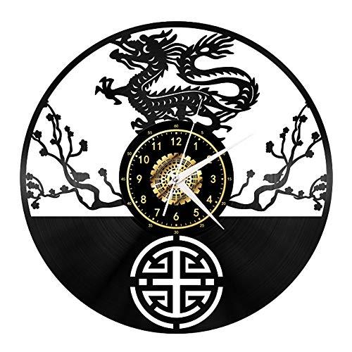 Loong - Reloj de pared de vinilo para regalo de vacaciones, hecho a mano, reloj de pared negro, regalo único para hombres y mujeres para decoración de pared de cumpleaños