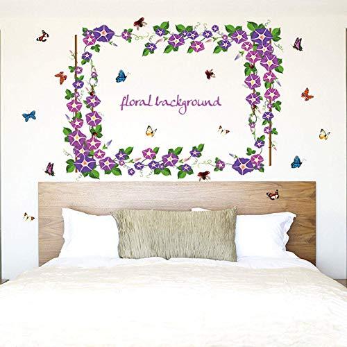 QINDONG Pegatinas de la Pared de la Planta Púrpura Mañana Gloria Flores Pegatinas de la Pared Dormitorio Caliente Se eliminaron Las Etiquetas engomadas de la Pared Ambiental Autoadhesivas (95x137cm