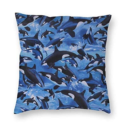 ETGeed ~ Killer Whales Orcas Ocean Sea Animals Home Decor Throw, Soft Plush Pillow Case 18x18 Inch Cover