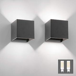 Klighten 2PCS Applique Murale Interieur/Exterieur 9W LED Appliques Murales LED 6000K Blanc Froid Lampe Murale pour le salo...