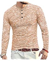 YTD Mens Casual Slim Fit Basic Henley Long Sleeve Fashion T-Shirt L Coffee