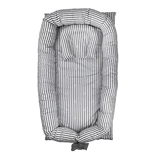 Abreeze Baby Bassinet for Bed Grey Striped Baby Lounger  Breathable amp Hypoallergenic CoSleeping Baby Bed  100% Cotton Portable Crib for Bedroom/Travel