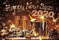 Qinunipoto 2020新年あけましておめでとうございます背景3m*2.5m大晦日祭りお祝いシャンパン歓声ラッキーホースシュー家族キッズ写真バナー家の装飾休日誕生日パーティークリスマス