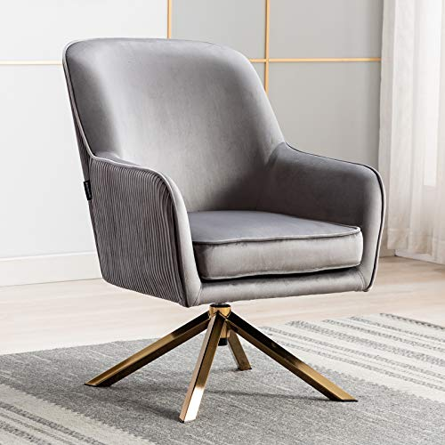 Artechworks Modern Velvet Swivel Accent Chair, Lounge Chair with X Typed Four Polished Golden Legs, Relax Armchair for Living Room, Office, Reading Room, Gray