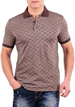 Gucci Polo Shirt, Mens Brown Short Sleeve Polo T- Shirt GG Print All Sizes (M)