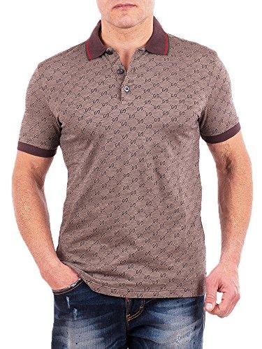 Gucci Polo Shirt, Mens Brown Short Sleeve Polo T- Shirt GG Print All Sizes (XL)