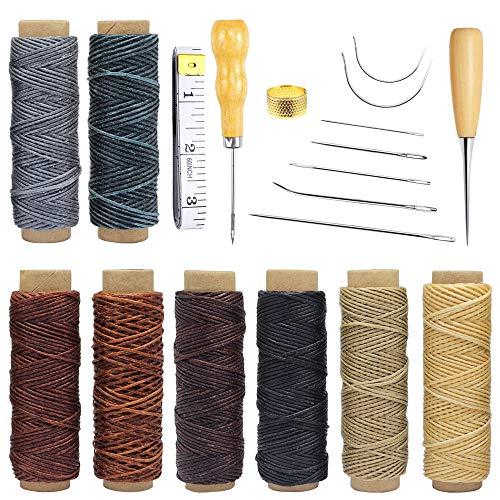 Homgaty Leder Werkzeug, 19 Stück Leder Handwerk Werkzeug Leder Handnähen DIY Tools, Hand Nähen Nadeln für Nähen Leder, Polsterung Teppich Leder Segeltuch DIY Nähen Zubehör