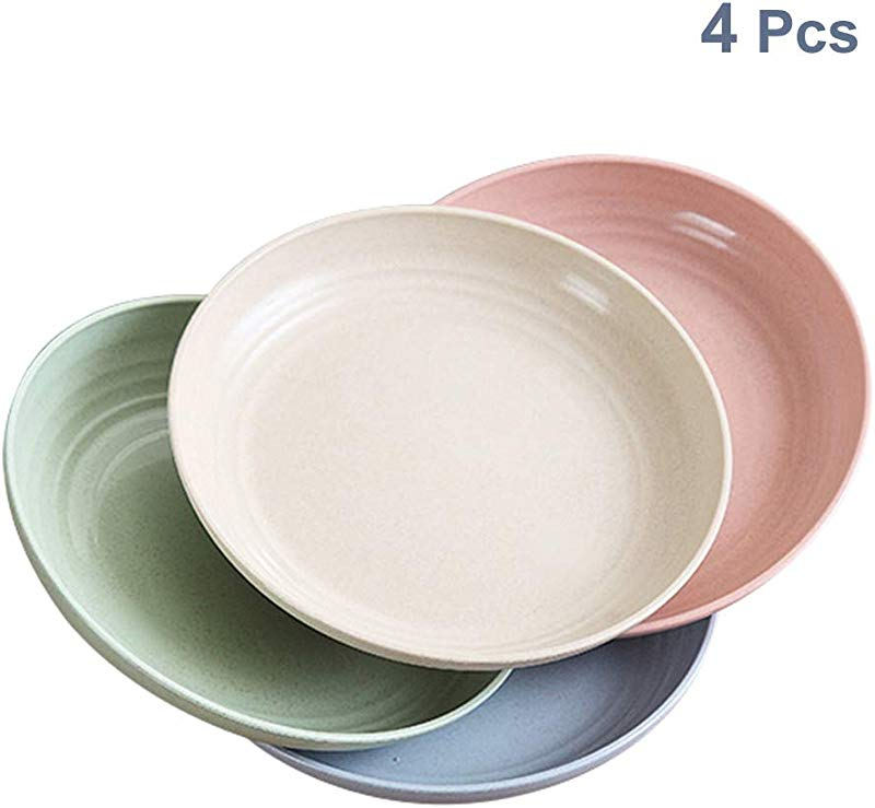 4 Pcs 7 8 Wheat Straw Dinner Plates Microwave Dishwasher Safe Lightweight BPA Free Salad Cake Dissert Dishes For Baby Kids Toddler Anti Fallen Non Toxic 4 Colors