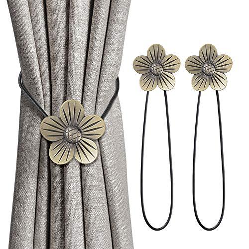 INHDBOX Magnetische Vorhang Raffhalter Kreativ Vorhang Clips Seil Rückwärtige Vorhang Halter Schnallen Vorhang Binder Gardinenhalter für Haus Dekoration 2 Stück (Bronze, Pflaumenblüte)