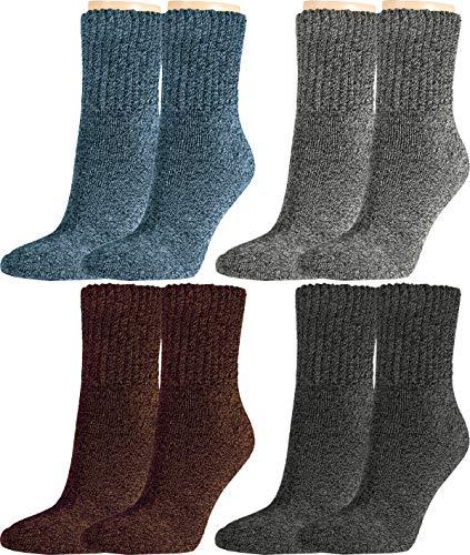 Vitasox Damen Socken super soft Baumwolle Damensocken Arbeitssocken Baumwollsocken ohne Gummi 4er Pack, 1paar Anthrazit & 1paar Grau & 1paar Jeans & 1paar Braun, 39/42