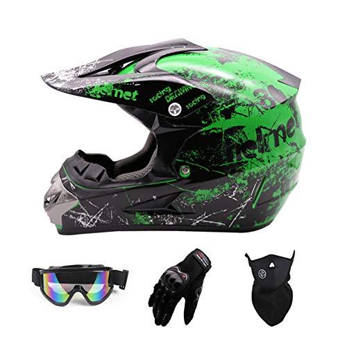 SanQing Motocross Helmet,Full Face Motocross Quad Crash Helmet ECE Downhill Dirt Bike MX ATV Adult Motorbike Helmet Gloves, Goggles, Mask 4 Piece Set,Green,S