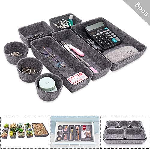 8er Filz Büroboxen Set, Schubladen Organizer 6-teiliges Set ideal als Organizer zur Aufbewahrung von Büroartikeln, Kosmetik, kleineren Gegenständen Zuhause oder im Büro