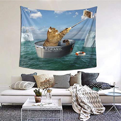 Tapiz de Pared,Gato con un teléfono en el Barco Tapestry (Colgante de Pared) Decoración de Pared Mural del hogar para Dormitorio Sala de Estar 152cmx130cm