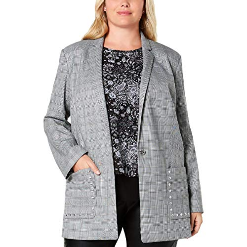 Michael Michael Kors Womens Plus Glen Plaid Business One-Button Blazer B/W 1X Black/White