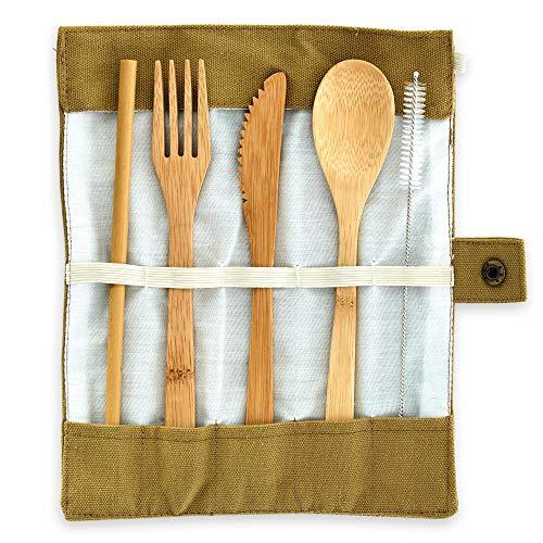 Cubiertos forestales de bambú (cuchara, tenedor, cuchillo y paja) hechos de 100% bambú - cubertería de viaje ecológica y reutilizable, cubertería para parrilla incl. bolsa de lino