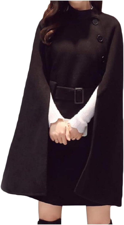 Cobama Women Cloak Loose Mid Long Casual Belted Wrap Woolen Pea Coat