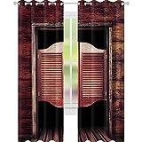 YUAZHOQI Cortinas opacas para oscurecimiento de la habitación, estilo antiguo, rústico, de madera, estilo vaquero salvaje oeste, para puerta de salón, 132 x 241 cm, color marrón y marrón