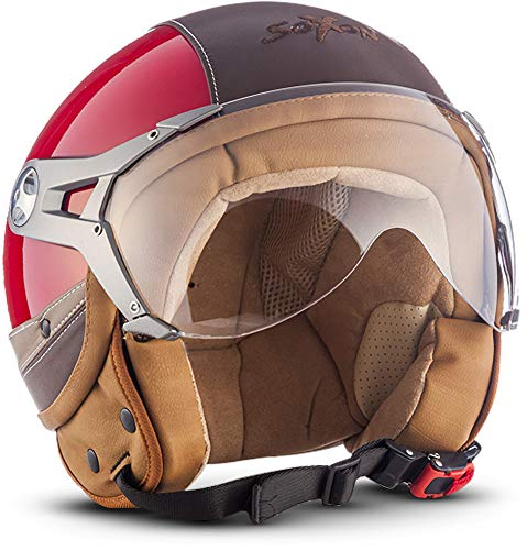 "SOXON® SP-325 Urban ""Red"" · Jet-Helm · Motorrad-Helm Roller-Helm Scooter-Helm Moped Mofa-Helm Chopper Retro Vespa Vintage Pilot · ECE 22.05 Visier Leather-Design Schnellverschluss Tasche M (57-58cm)"