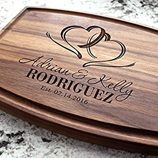Two Hearts Wedding Personalized Cutting Board - Engraved Custom Cutting Board, Wedding, Housewarming, Anniversary, Engagem...