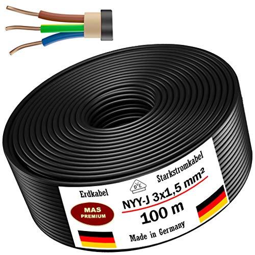 Erdkabel Stromkabel 5m, 10m, 20m, 25m, 50m oder 100m NYY-J 3x1,5 mm² Elektrokabel Ring zur Verlegung im Freien, Erdreich (100m)