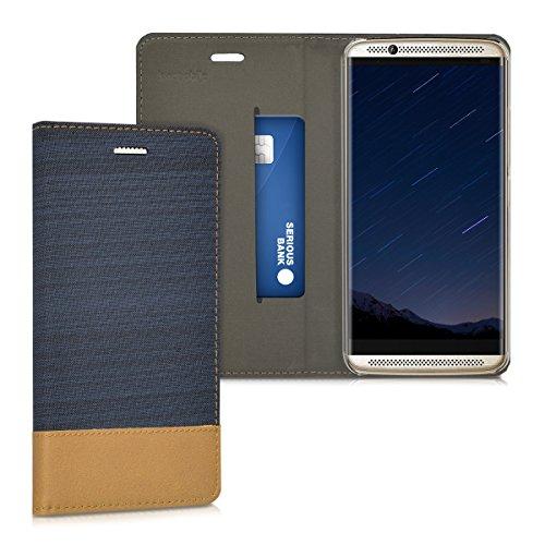 kwmobile Funda Compatible con ZTE Axon 7-Carcasa de Tela y Cuero sintético con Soporte en Azul Oscuro/marrón