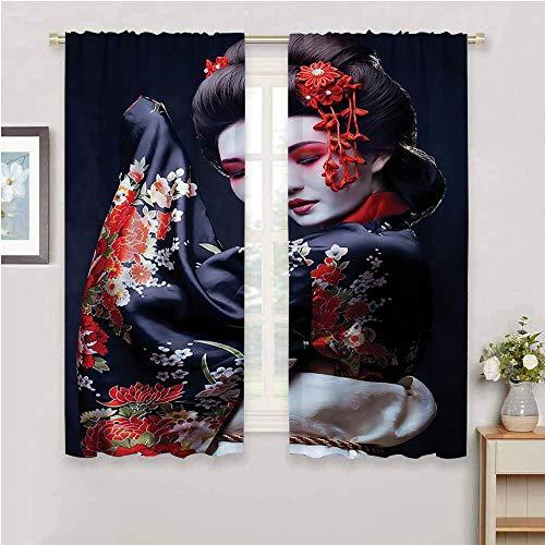 DIMICA Black out window curtain 2 panel japan geisha in kimono with sakura 2 Panel Sets W108 x L84 Inch