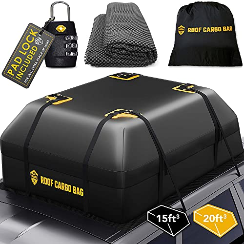 TOOLGUARDS Car Top Carrier Roof Bag + Protective Mat - 100% Waterproof & Coated Zippers 20 Cubic ft...