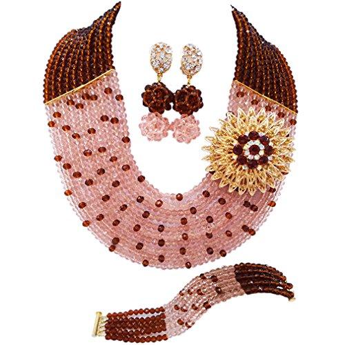 laanc Juego de joyas de 10 lneas de cristal con forma de bombn de melocotn y silla de montar, cuentas africanas, de 45,72 cm, collar y pulsera de 20,32 cm