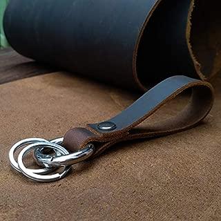 Key Ring Holder Real Cowhide Genuine Leather Keychain Pocket Covers for Car Keys Women Men Handmade (Silver)