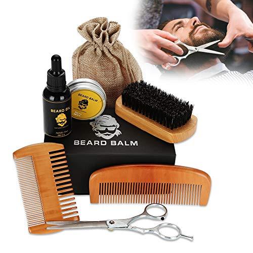 Set para el cuidado de la barba, Barba Aceite Bálsamo Barba para dar forma al bigote Creciente Hidratante Suavizante Juego de cuidado de barba para hombres