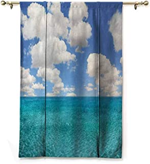 Blackout Curtain Tie Up Shade Window Ocean,Dreamy Skyline with Clouds Over Crystal Water Sea Coast Tropical Island Image,Turquoise Aqua,23