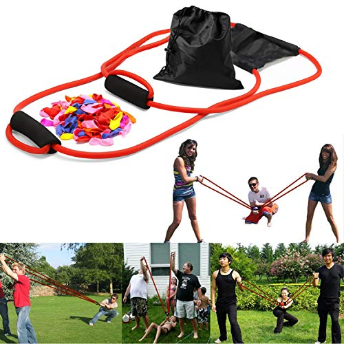 YHmall 3 Person Water Balloon Launcher with 500 Water Balloons, Catapult/Cannon Slingshot Free Balloons. Outdoor Game for Kids and Adults, Red, one size
