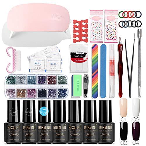 ROSALIND uñas arte herramientas curar kit de manicura UV esmalte cualquier gel de 4 colores cartilla para uñas diseño