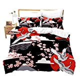 Erosebridal Crane Duvet Cover Queen Size Japanese-Style Bedding Set Cherry Blossoms Pattern Adult Women Girls Comforter Cover 3 Pieces Japanese Traditional Pattern Decor Comforter Set With Zipper Ties