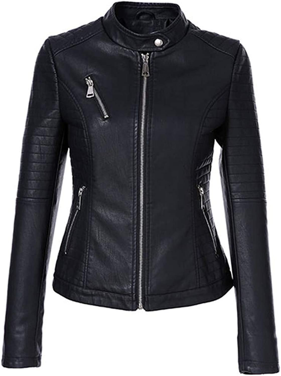 Autumn Women's Short Black M Arin Collar Zipper Biker Slim Female PU Leather Jacket