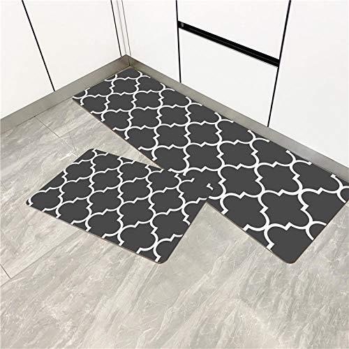 HTHJA Juego de 2 alfombras de Cocina Antideslizantes Lavables,Alfombrilla de Cocina de PVC Engrosada Impermeable, a Prueba de Aceite y Resistente al Desgaste-Gris Oscuro_45 * 75cm + 45 * 150cm