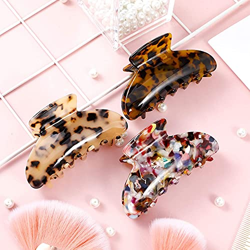 Firtink 3 Stück Acetat Haarklammer, Frankreich Große Haargreifer Haarklauen Schildpatt Rutschfeste Große Klaue Cli Für Damen Mädchen