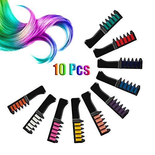 Auidy_6TXD 10 Stück Haarkreide Kamm, Temporär Haarfarbe ungiftig Haarfärbemittel Kreide Kamm für Kinder Kinder Party Cosplay