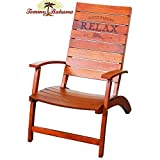 Tommy Bahama Folding Adirondack Chair Made of 100% Solid Eucalyptus Wood | No Assembly Required ! (Brown)