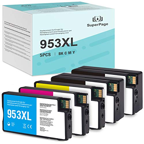 [Nuevo chip]-5 Superpage Compatible con HP 953 953XL Remanufacturado Cartucho de Tinta reemplazo para HP OfficeJet Pro 8210 8218 8710 8715 8718 8719 8720 8725 8728 8730 8740 7740 wf All-in-One