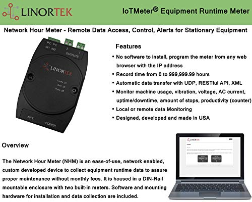 Linortek Network Hour Meter – Web-Based Industrial Equipment Runtime Hour Meter Counter Elapsed Time Indicator Remote Hour Reading System with Alerts Two Resettable Hour Meters in One Device
