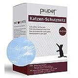 PiuPet® Katzennetz 4x3m durchsichtig - Balkonnetz transparent ideal für Deine Katze - Katzennetz für Balkon & Fenster inkl. 20 Kabelbinder & 25m Befestigungsseil