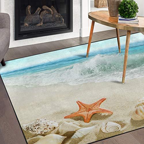 Naanle Summer Ocean Beach Area Rug 5'x7', Starfish Seashells Polyester Area Rug Mat for Living Dining Dorm Room Bedroom Home Decorative