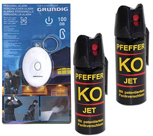 BALLISTOL Verteidigungsspray Pfeffer KO Jet 2 Dosen mit je 50 ml Pfefferspray bis zu 5 m Reichweite+ Schrill-Alarm mit LED