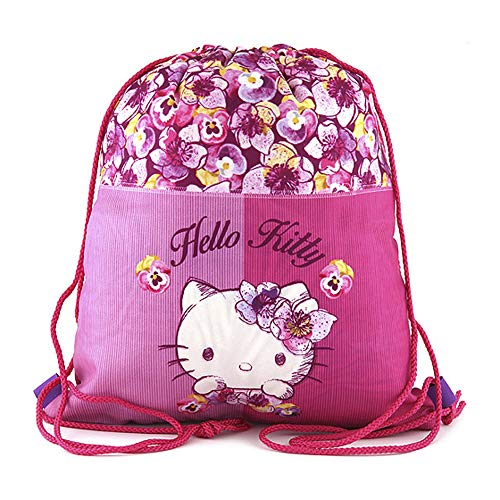 Target Hello Kitty Flowers Drawstring Bag Bolsa de Tela y Playa, 35 cm, Rosa (Pink)