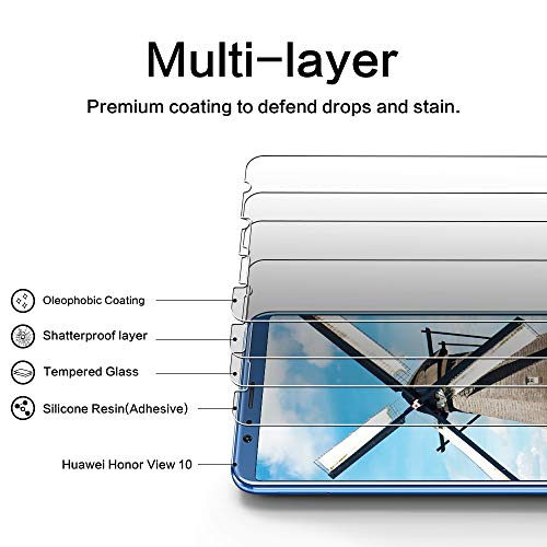 DOSNTO [2 Stück Panzerglas Schutzfolie für Huawei Honor View 10, 9H Härte, Anti-Kratzer, Anti-Öl, Anti-Bläschen, Anti-Fingerprint Displayschutzfolie Panzerglasfolie - 2