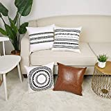 YoKii Boho Pillow Cover Throw Pillow Case Set of 4 Black and White Cotton Mandala Print Cushion Cover Brown Leather Square Pillowcases for Couch, Bedroom Living Room Decorations (18 x 18, 4 Pack Set)