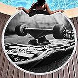 Tabla de skate impresa redonda toalla de playa Yoga Picnic Mat mantel redondo ultra suave súper absorbente de agua toalla de rizo con borlas