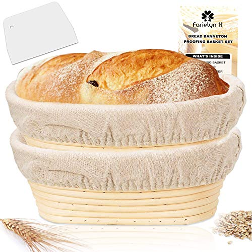 Farielyn-X 2 Packs 10 Inch Oval Shaped Bread Banneton Proofing Basket - Baking Dough Bowl Gifts for Bakers Proving Baskets for Sourdough Lame Bread Slashing Scraper Tool Starter Jar Proofing Box